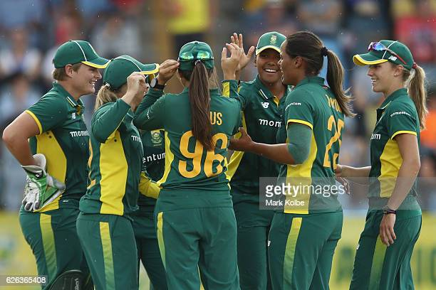 South Africa celebrate taking the wicket of Alex Blackwell of Australia during the women's one day international match between Australia and South...