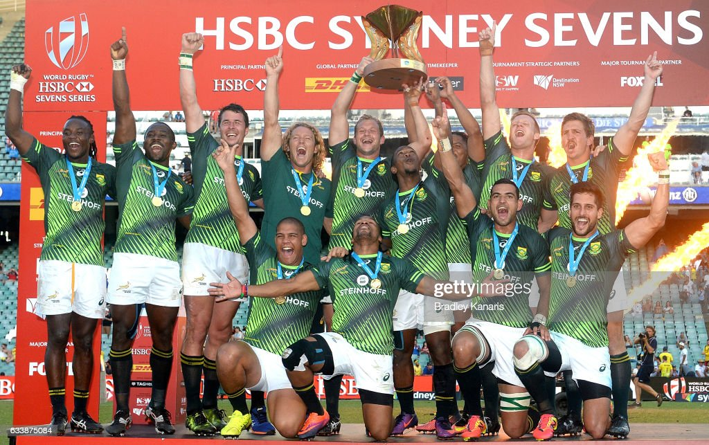 South Africa celebrate their victory after winning the Men's Final match between England and South Africa in the 2017 HSBC Sydney Sevens at Allianz Stadium on February 5, 2017 in Sydney, Australia.