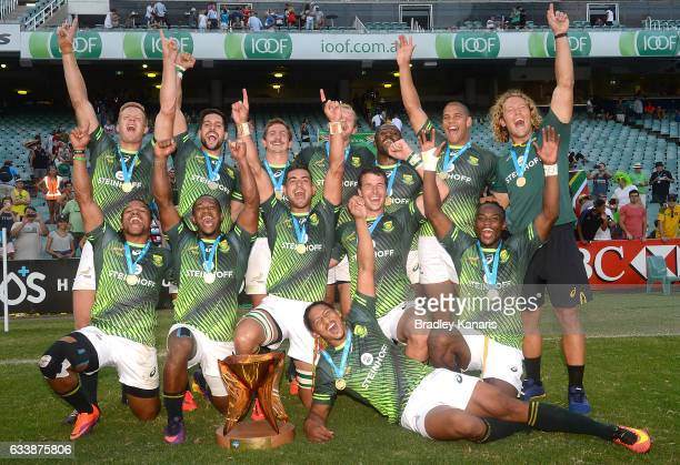 South Africa celebrate their victory after winning the Men's Final match between England and South Africa in the 2017 HSBC Sydney Sevens at Allianz...