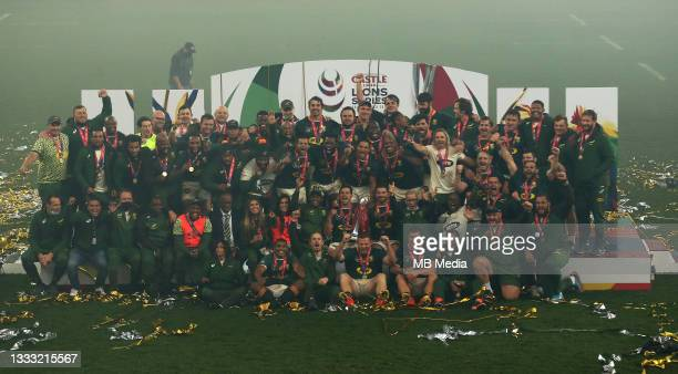 South Africa celebrate winning the Castle Lager Lions Series 2-1 during the 3rd Test between South Africa and the British & Irish Lions at FNB...