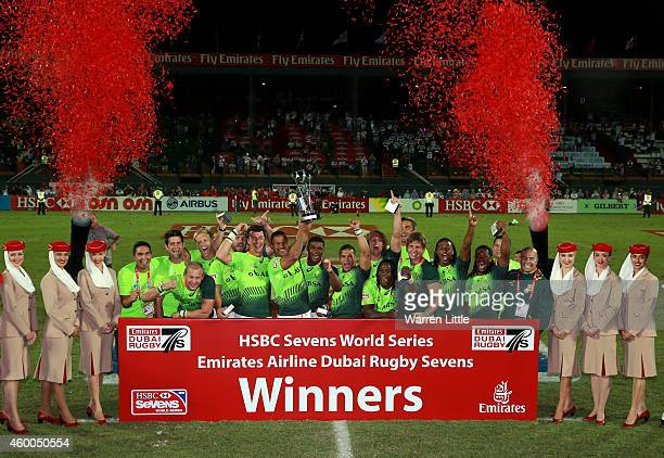 South Africa celebrate winning the Emirates Dubai Sevens HSBC Sevens World Series at The Sevens Stadium on December 6 2014 in Dubai United Arab...