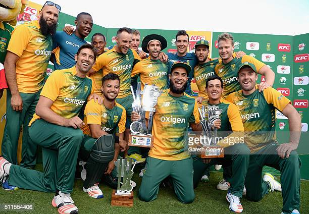 South Africa celebrate winning the KFC T20 International series between South Africa and England at Bidvest Wanderers Stadium on February 21 2016 in...