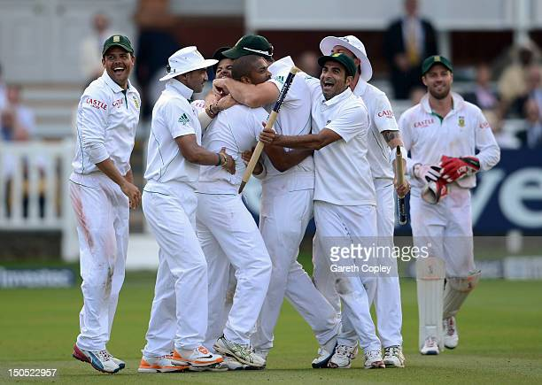 South Africa celebrate winning the series during day five of 3rd Investec Test match between England and South Africa at Lord's Cricket Ground on...