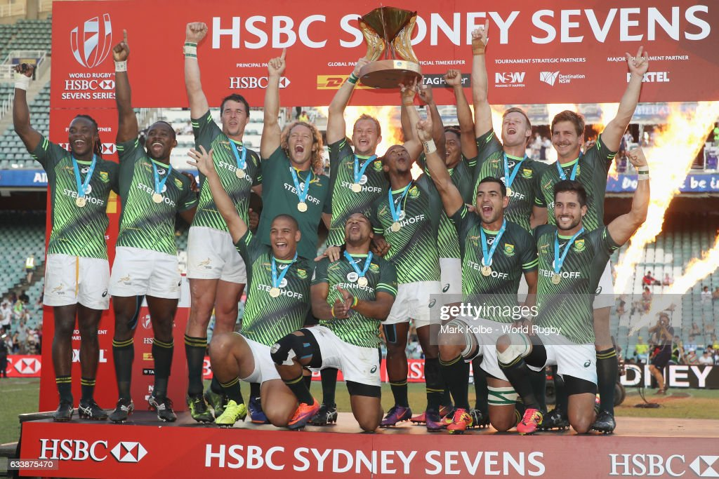 South Africa celebrate with the Cup after winning the Cup Final match between England and South Africa in the 2017 HSBC Sydney Sevens at Allianz Stadium on February 5, 2017 in Sydney, Australia.