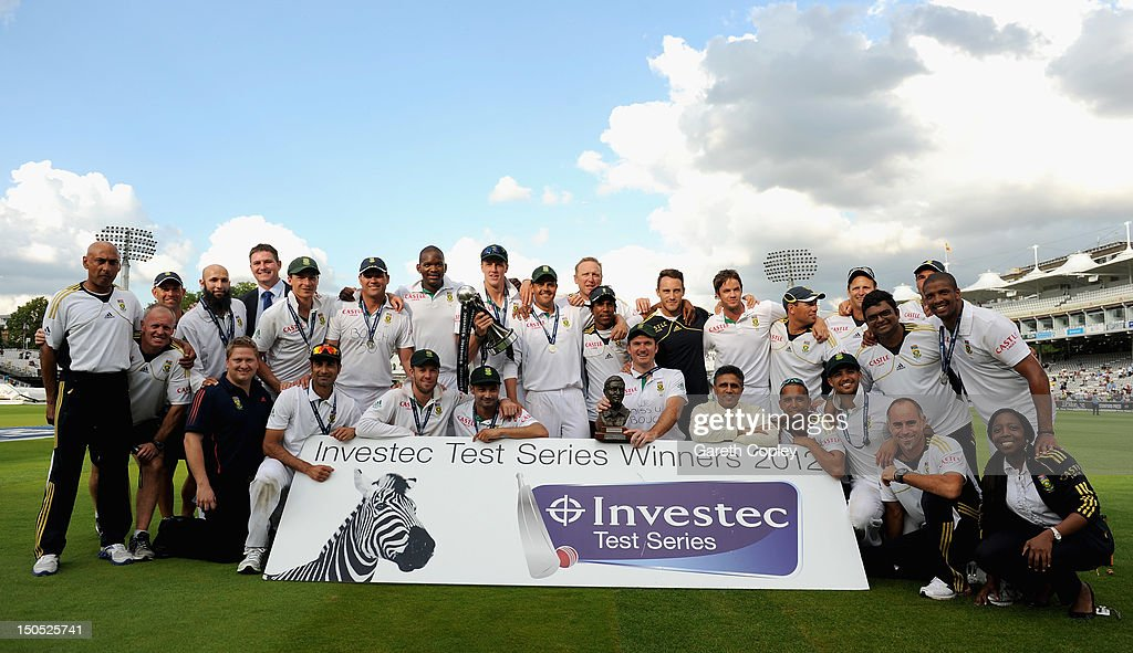 South Africa celebrate with the series trophy after winning the 3rd Investec Test match between England and South Africa at Lord's Cricket Ground on August 20, 2012 in London, England.