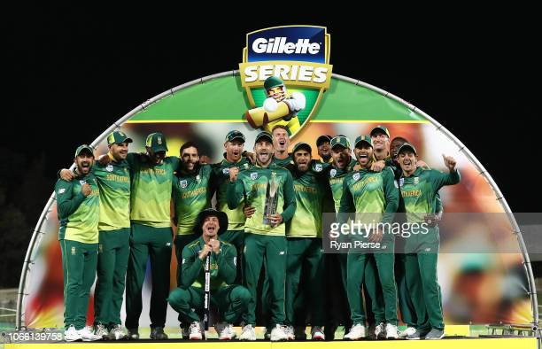 South Africa celebrate with the series trophy during game three of the One Day International series between Australia and South Africa at Blundstone...