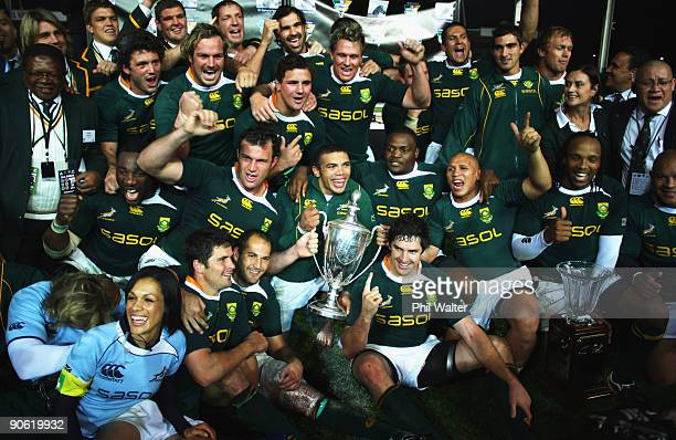 South Africa celebrate with the Tri Nations and Freedom Cup following the Tri Nations Test between the New Zealand All Blacks and South African...