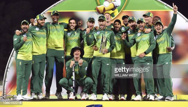 TOPSHOT South Africa celebrate with the trophy after defeating Australia in the third oneday international cricket match to take the series 21 in...