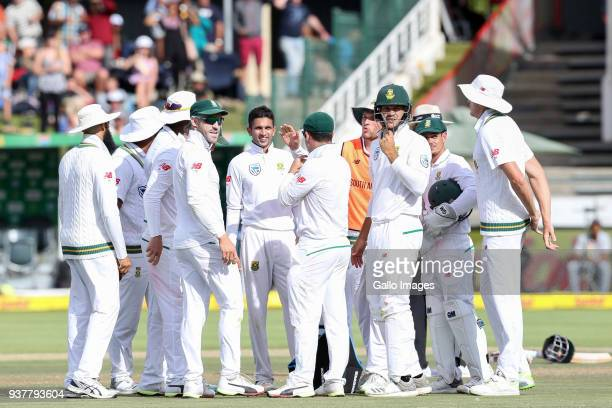 South Africa Celebrates a wicket during day 4 of the 3rd Sunfoil Test match between South Africa and Australia at PPC Newlands on March 25 2018 in...