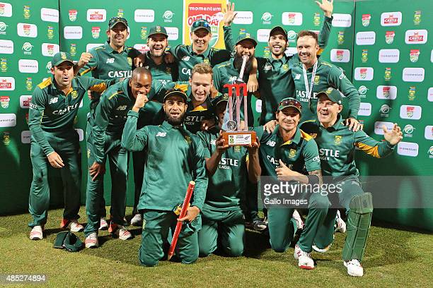 South Africa celebrates the series win after the 3rd ODI match between South Africa and New Zealand at Sahara Stadium Kingsmead on August 26 2015 in...