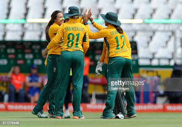South Africa celebrates the wicket of Charlotte Edwards of England during the 2nd T20 International match between South African Women and England...