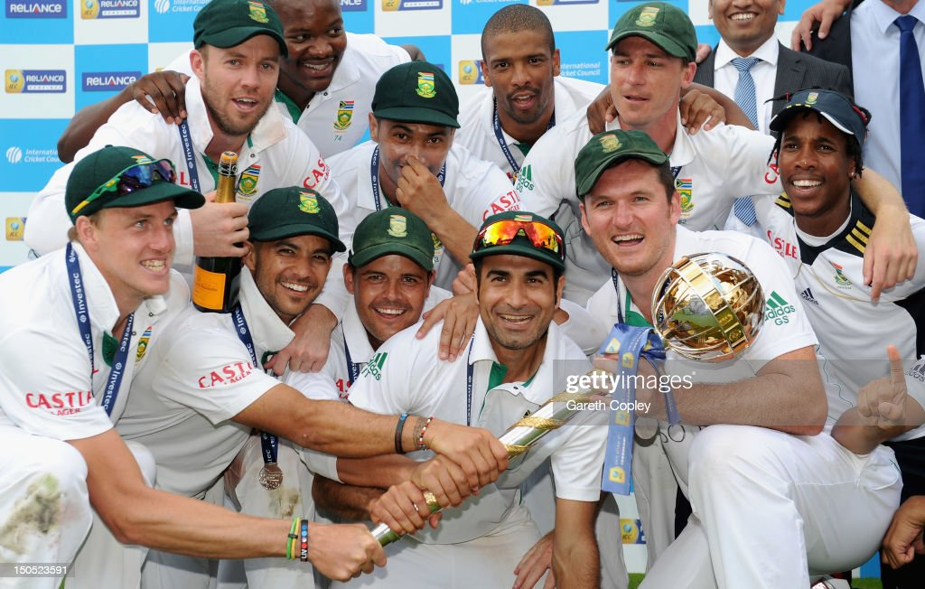 South Africa celebrates with the ICC World Test mace after winning 3rd Investec Test match between England and South Africa at Lord's Cricket Ground on August 20, 2012 in London, England.