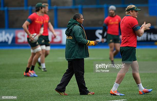 South Africa Coach Allister Coetzee and captain Adriaan Strauss get to work during Springbok training ahead of their International match against...