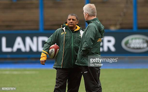South Africa Coach Allister Coetzee chats with his coaches during Springbok training ahead of their International match against Wales at Cardiff Arms...
