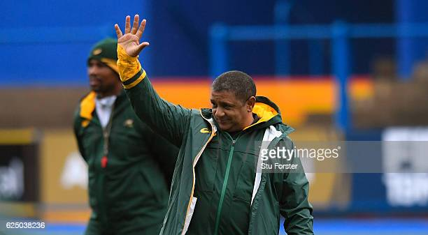 South Africa Coach Allister Coetzee reacts during Springbok training ahead of their International match against Wales at Cardiff Arms Park on...