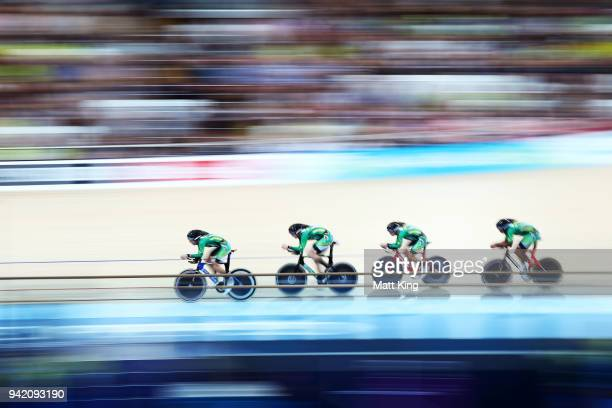 South Africa compete in the Men's 4000m Team Pursuit Qualifying during the Track Cycling on day one of the Gold Coast 2018 Commonwealth Games at Anna...