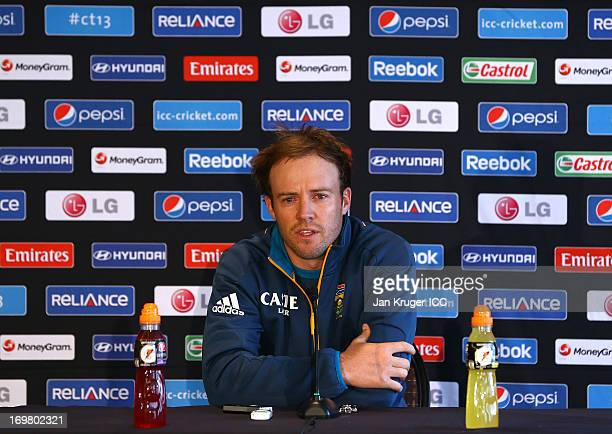 South Africa cricket captain AB de Villiers talks to the media during an ICC Champions Trophy press conference at the Royal Garden Hotel on June 2...