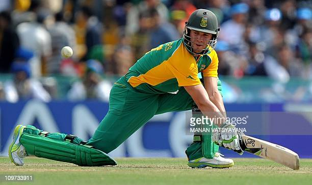 South Africa cricketer ABDeVilliers plays a reverse sweep on his way to scoring a century against the Netherlands during their World Cup match at the...