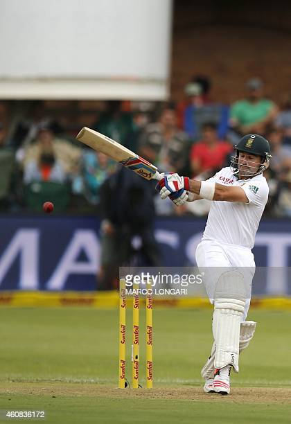 South Africa Dean Elgar plays a shot during the 1st day of the second test match between South Africa and the West Indies at S George Park in Port...