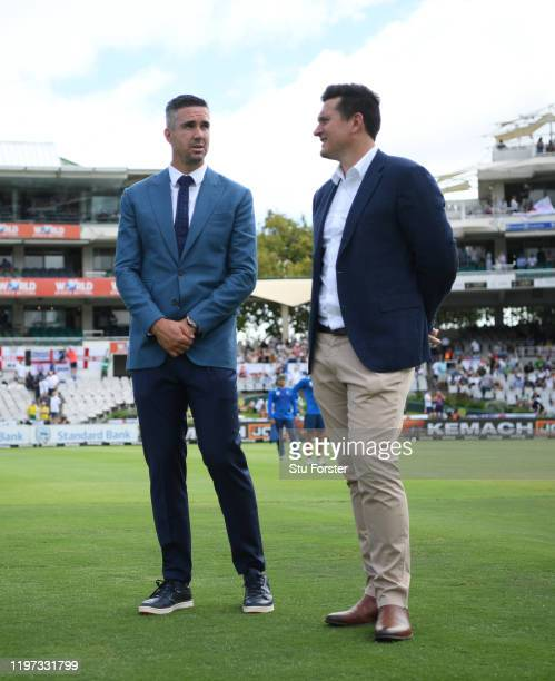 South Africa Director of Cricket Graeme Smith chats with ex England player Kevin Pietersen during Day One of the Second Test between England and...