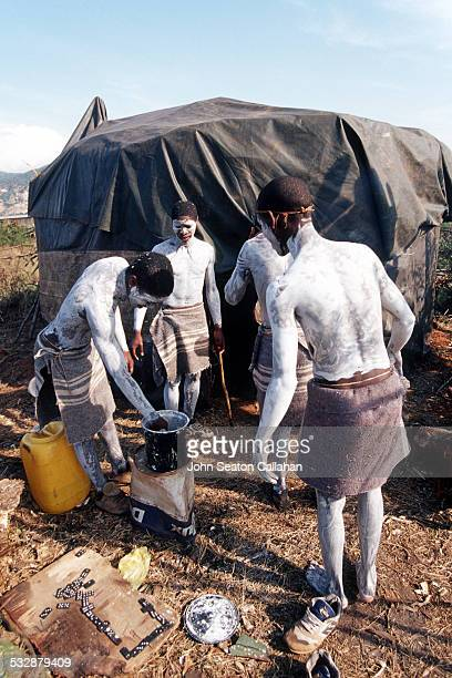South Africa Eastern Cape young Xhosa men undergoing Ulwaluko the traditional manhood initiation ritual in their bush camp