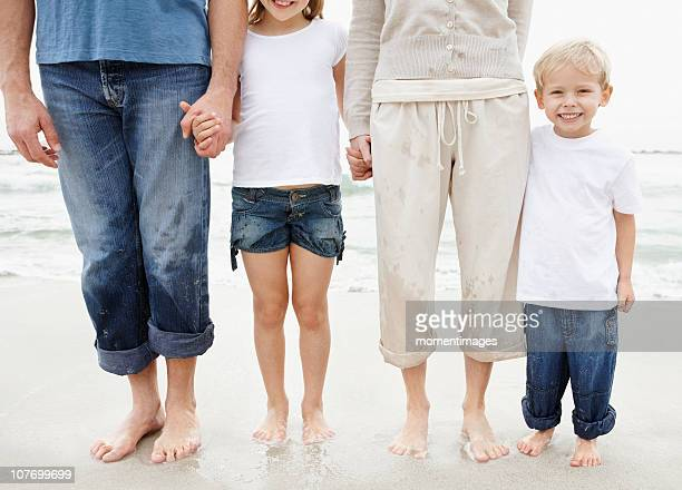 South Africa, Family holding hands and posing at beach, midsection