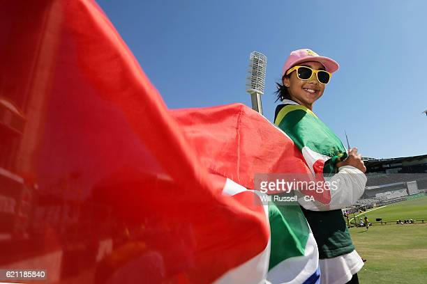 South Africa fan can be seen during day three of the First Test match between Australia and South Africa at WACA on November 5 2016 in Perth Australia