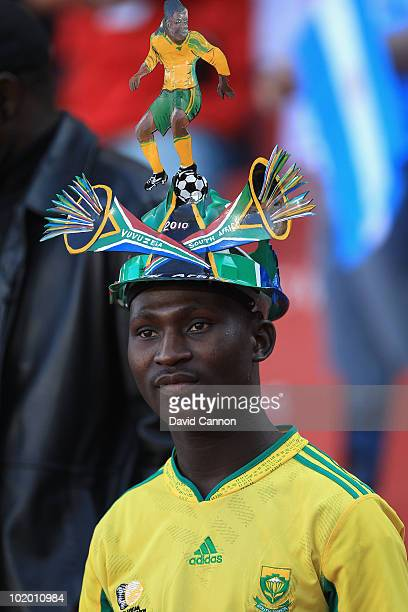 South Africa fan wears a makarapa helmet during the 2010 FIFA World Cup South Africa Group B match between Argentina and Nigeria at Ellis Park...
