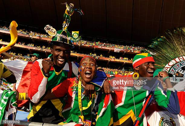South Africa fans before the start of the 2010 FIFA World Cup South Africa Group A match between South Africa and Mexico at Soccer City Stadium on...