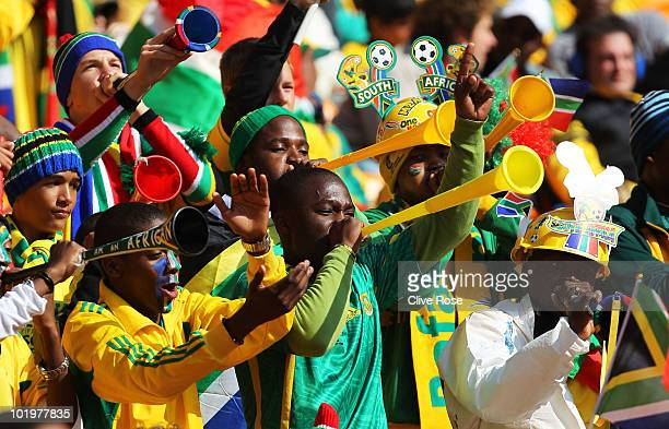 South Africa fans blow Vuvuzela's ahead of the Opening Ceremony of the 2010 FIFA World Cup South Africa Group A match between South Africa and Mexico...
