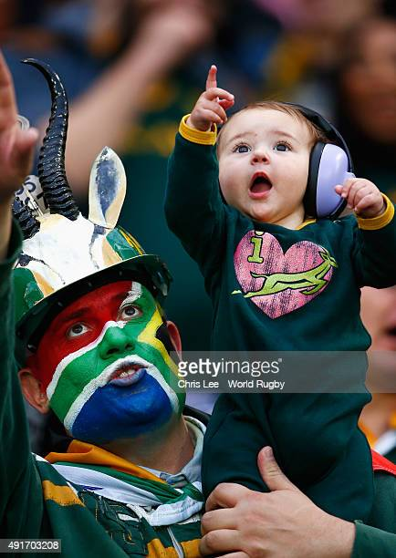 South Africa fans during the 2015 Rugby World Cup Pool B match between South Africa and USA at the Olympic Stadium on October 7 2015 in London United...
