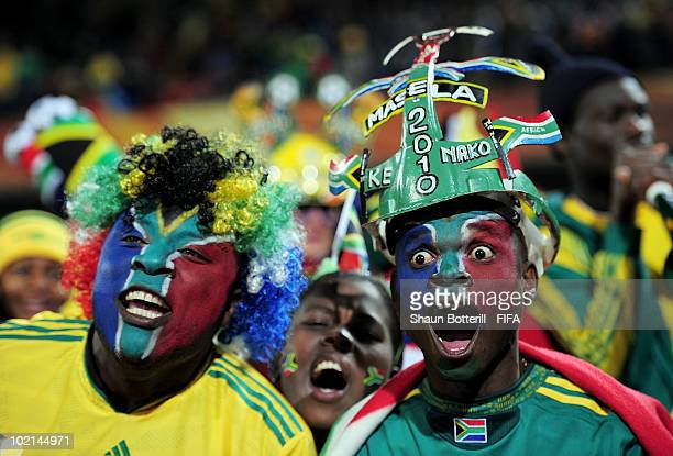 South Africa fans enjoy the atmosphere ahead of the 2010 FIFA World Cup South Africa Group A match between South Africa and Uruguay at Loftus...