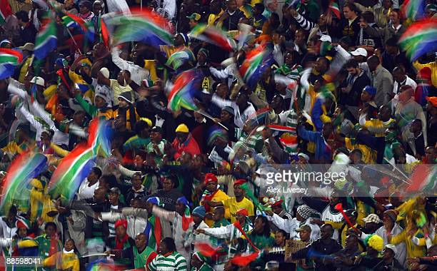 South Africa fans show their support during the FIFA Confederations Cup match between Spain and South Africa at the Free State Stadium on June 20,...