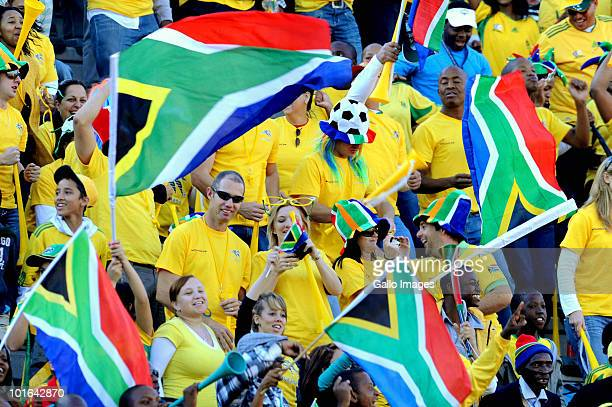 South Africa fans support their team during the International friendly match between South Africa and Denmark at the Super Stadium on June 05 2010 in...