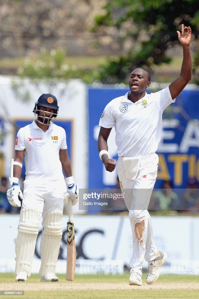 South Africa fast bowler Kagiso Rabada celebrates the wicket of Angelo Mathews (not in picture) during day 1 of the 1st Test match between Sri Lanka and South Africa at Galle International Stadium on July 12, 2018 in Galle, Sri Lanka.