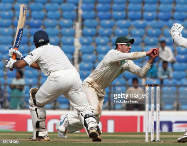 South Africa fielder AB DeVilliers teake catch of Indias MS Dhoni during the fourth day of the first test match between India and South Africa at VCA...
