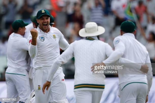 South Africa fielder Aidan Makram celebrates bowler Vernon Philander dismissing India batsman Jasprit Bumrah and winning the match by 72 runs during...