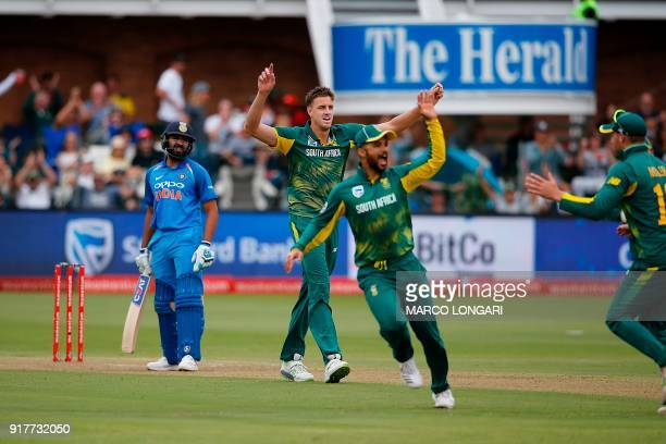 South Africa fielder JP Duminy celebrates catching out on a ball by South Africa bowler Morne Morkel India batsman Virat Kohli during the fifth One...