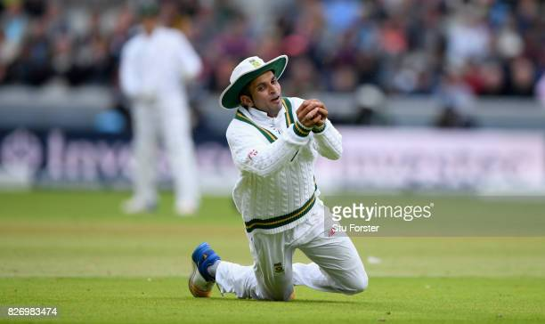 South Africa fielder Keshav Maharaj catches out Toby Roland Jones during day three of the 4th Investec Test Match between England and South Africa at...