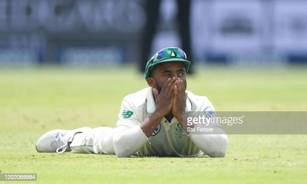 South Africa fielder Temba Bavuma reacts during Day Three of the Fourth Test between South Africa and England at Wanderers on January 26, 2020 in...