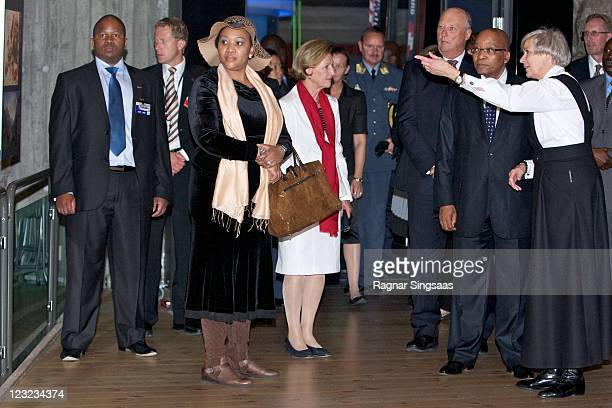 South Africa First Lady Thobeka Madiba Queen Sonja of Norway King Harald V of Norway and South Africa President Jacob Zuma visit the Holmenkollen Ski...