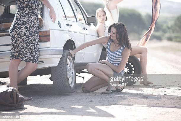 South Africa, Friends on a road trip having a car breakdown