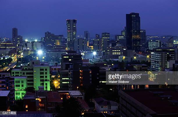 south africa, gauteng, pretoria, downtown skyline, dusk - pretoria stock pictures, royalty-free photos & images