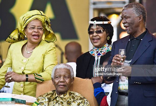 South Africa Gauteng Pretoria Former South African president Nelson Mandela celebrates his 90th birthday at Loftus Stadium Graca Machel and Winnie...