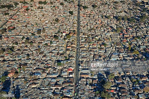 south africa, gauteng province, johannesburg, aerial view of alexandra township - alexandra township stock pictures, royalty-free photos & images