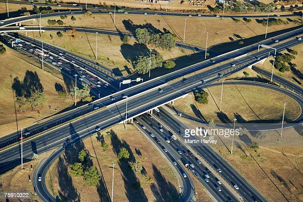 south africa, gauteng province, johannesburg, aerial view of buccleuch interchange - johannesburg stock pictures, royalty-free photos & images