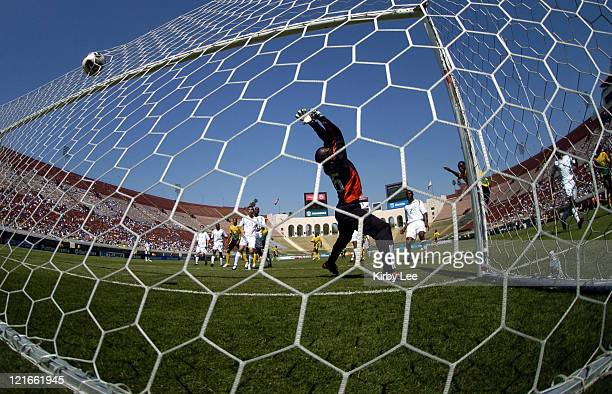 South Africa goalie Thabani Radebe can't reach a header by Jamaica's Teafore Bennett in the 80th minute that tied the score 33 in CONCACAF Gold Cup...