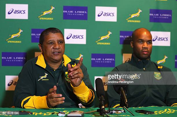 South Africa head coach Allister Coetzee and JP Pietersen are pictured during a South Africa press conference at Royal Gardens Hotel on November 7...