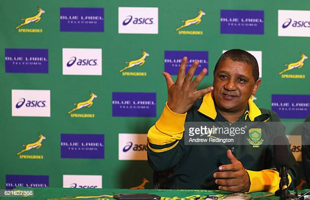 South Africa head coach Allister Coetzee is pictured during a South Africa press conference at Royal Gardens Hotel on November 7 2016 in London...