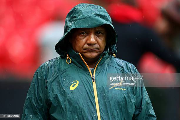 South Africa head coach Allister Coetzee keeps an eye on the session during the South Africa Captain's Run at Wembley Stadium on November 4 2016 in...
